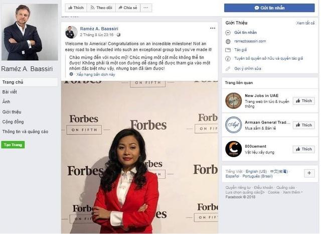 Hình ảnh bà Trần Uyên Phương xuất hiện ở Forbes đăng trên Facebook của một doanh nhân nước ngoài