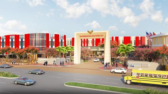 IEC Quảng Ngãi Entrance: Mặt tiền dự án Thành phố giáo dục IEC Quảng Ngãi.