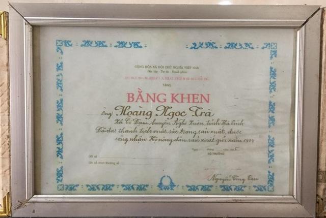 Năm 1994, ông Hoàng Ngọc Trà được Bộ NN&PTNT tặng bằng khen về làm kinh tế giỏi
