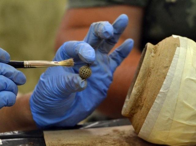 Các nhà khảo cổ học cẩn thận lấy từng đồ vật khỏi chiếc hũ kho báu.