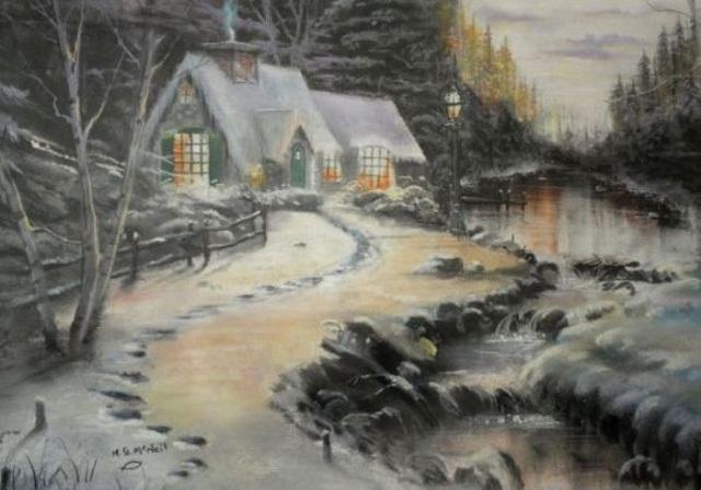 Một bức tranh vẽ cảnh mùa đông tuyết phủ của cụ bà 95 tuổi