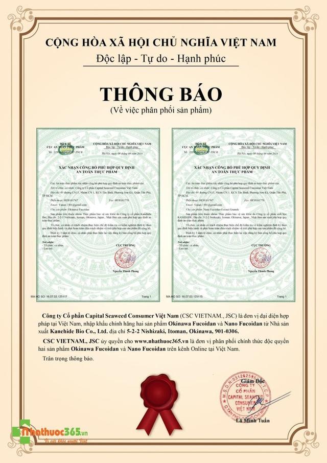 Ủy quyền của CSC cho nhathuoc365.vn là đơn vị phân phối độc quyền Online sản phẩm Okinawa fucoidan chính hãng