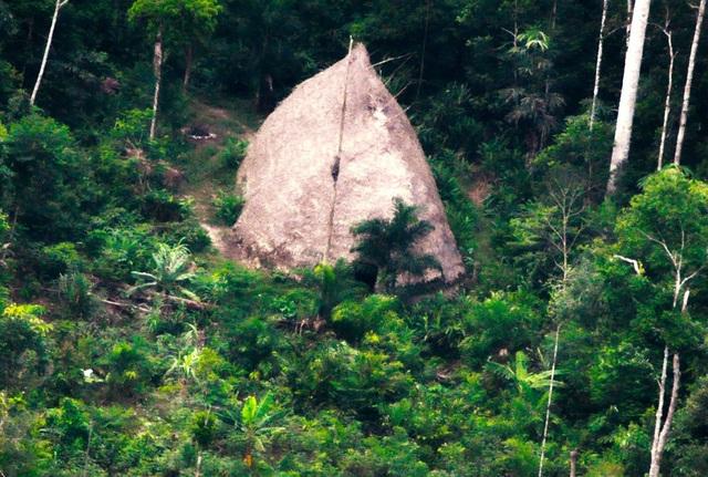 Cảnh chụp một túp lều tranh của một bộ tộc sống biệt lập tại Vale do Javari, bang Amazonas, Brazil.