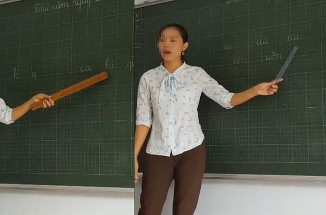 Cô giáo đang hướng dẫn học sinh phát âm. (Ảnh chụp lại từ clip)