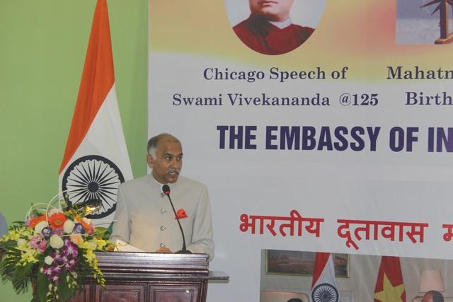 Phát biểu tại lễ khánh thành tượng Mahatma Gandhi, Đại sứ Ấn Độ tại Việt Nam Parvathaneni Harish cũng nhấn mạnh tầm quan trọng của mối quan hệ Đối tác Chiến lược Toàn diện giữa Việt Nam và Ấn Độ.