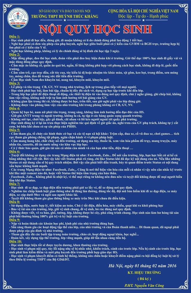 Ngoài thông điệp nhằm mong muốn những điều đạt được, nhà trường còn có cả bảng nội quy với 10 điều rất nghiêm túc.