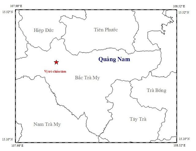 Tâm chấn trận động đất xảy ra chiều 28/8 ở huyện Bắc Trà My. (Ảnh: Viện vật lý địa cầu)