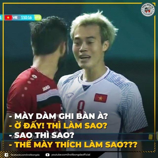 Phải chăng đây là nội dung đoạn hội thoại của Văn Toàn và đối thủ ở cuối trận đấu? (Ảnh: Troll bóng đá)