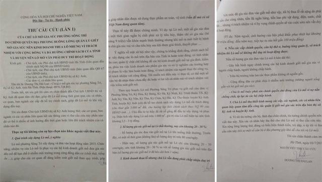 Bà Dương Thị Hải Lan làm đơn kêu cứu khẩn cấp kiến nghị UBND tỉnh Hà Tĩnh UBND thị xã Kỳ Anh vào cuộc.