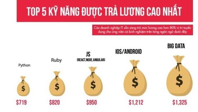 Những ngôn ngữ được trả lương cao nhất (theo topdev)