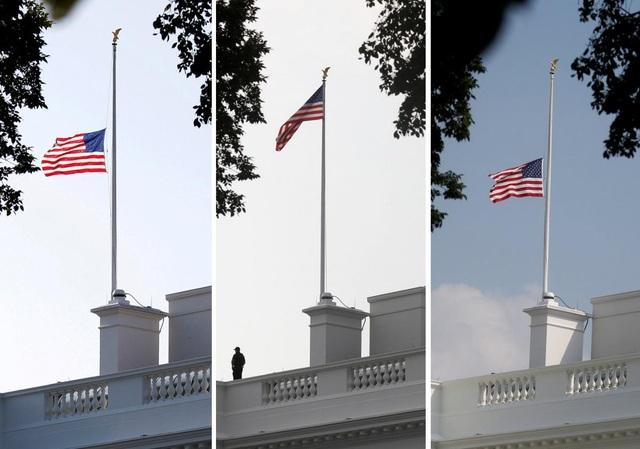 Cờ tại Nhà Trắng hạ xuống, nâng lên và tiếp tục hạ xuống sau khi ông McCain qua đời. (Ảnh: Reuters)