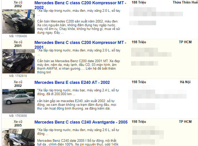 Nhiều loại xe cũ của Mercedes giá dưới 200 triệu đồng được rao bán.
