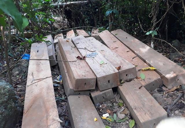 Gỗ được xẻ thành hộp đang được tập kết vận chuyển ra khỏi rừng thì bị người dân phát hiện báo cho cơ quan chức năng.