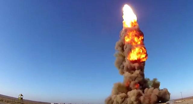 Vụ phóng thử tên lửa của Nga ở bãi thử Sary Shagan ở Kazakhstan (Ảnh: Bộ Quốc phòng Nga)