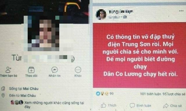 Tài khoản facebook đăng thông tin sai lệch về việc vỡ đập thủy điện Trung Sơn gây hoang mang dư luận