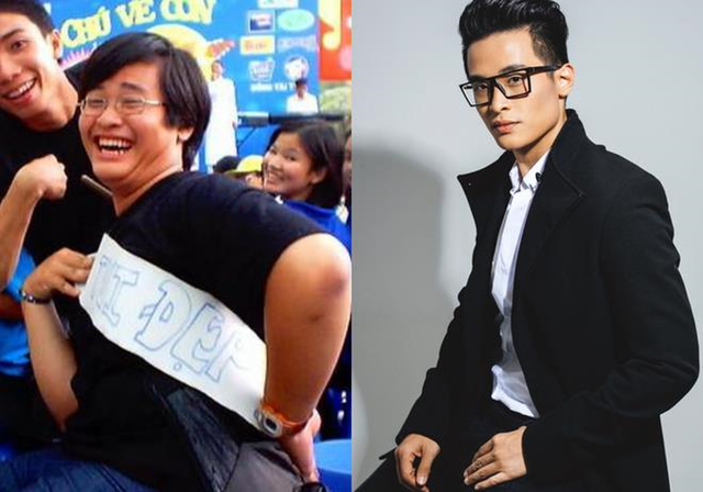 Hình ảnh của Hà Anh Tuấn trước đây khi chưa giảm cân và hình ảnh thư sinh, lịch lãm sau khi giảm cân.