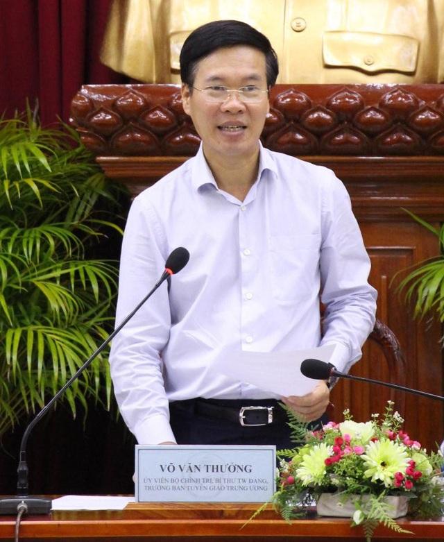 Ông Võ Văn Thưởng - Ủy viên Bộ Chính trị, Trưởng Ban Tuyên giáo Trung ương phát biểu tại buổi làm việc.