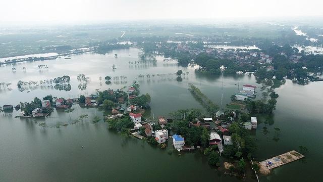 Về cơ bản nước ở xã Nam Phương Tiến (Chương Mỹ, Hà Nội) đã rút gần hết, chỉ còn một số trũng vẫn ngập trong nước.