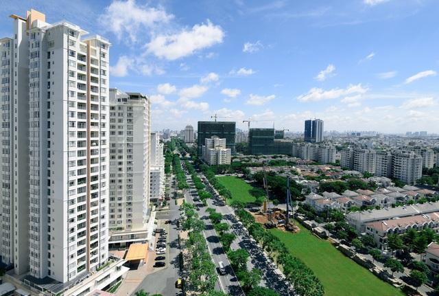 Đô thị Phú Mỹ Hưng quy hoạch từ nhiều năm trước và đã đi vào hoạt động ổn định là một lợi thế thực chứng của chủ đầu tư. Ảnh đại lộ Nguyễn Lương Bằng