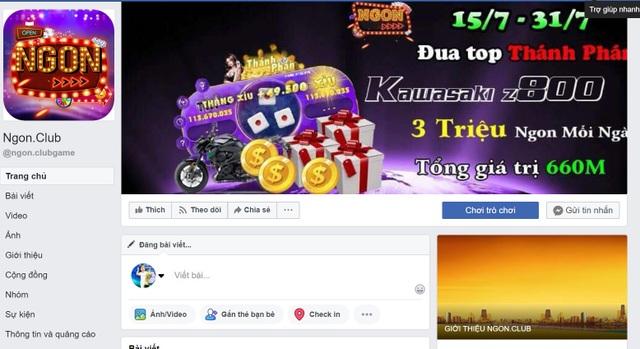 Fanpage của cổng game Ngon.Club quảng cáo nhiều chương trình trao thưởng với giá trị lớn để hút người chơi.