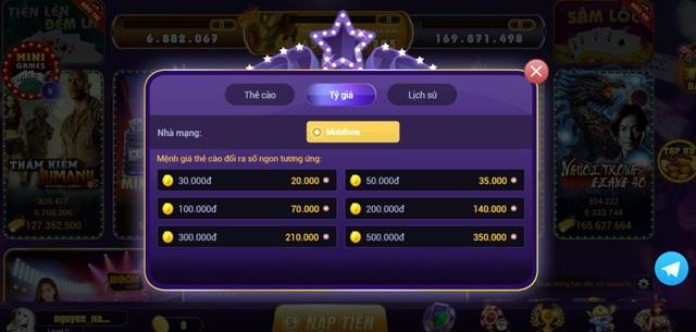 Tỷ giá thẻ nạp được nhà phát hành Ngon.Club công bố trên cổng game.