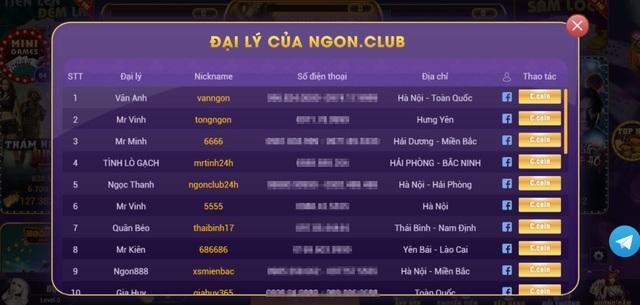 Danh sách các Đại lý của Ngon.Club được công khai từ số đường dây nóng tới facebook các chủ Đại lý.