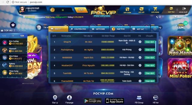 Danh sách Đại lý của Pocvip.com cũng được công khai.
