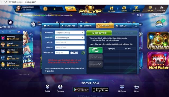 Cách thức chuyển poc và nạp poc (tên tiền ảo trong cổng game pocvip.com) khá đơn giản, dễ dàng thao tác trên máy tính.