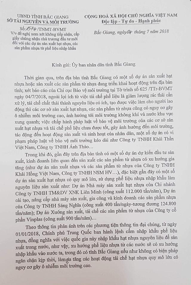Sở TN&MT tỉnh Bắc Giang báo cáo UBND tỉnh Bắc Giang.