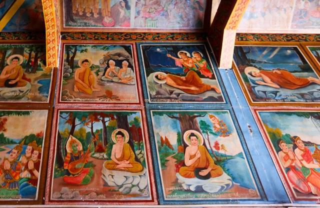 Xung quanh các bức tường, trần nhà chánh điện đều có các bức tranh lớn kể lại câu chuyện về quá trình tu đạo của Đức Phật.
