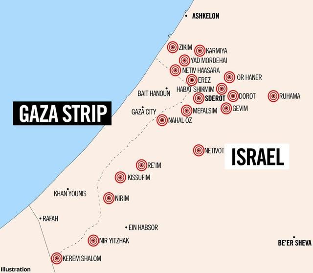 Bản đồ khu vực dải Gaza và Israel (Ảnh: RT)