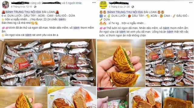 Bánh trung thu được quảng cáo là hàng nội địa Trung Quốc được rao bán tràn lan trên mạng xã hội