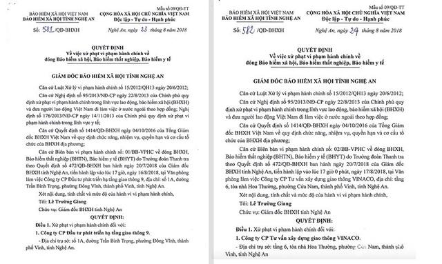 Quyết định xử phạt hành chính của BHXH Nghệ An đối với 2 doanh nghiệp chậm đóng bảo hiểm với số tiền lớn