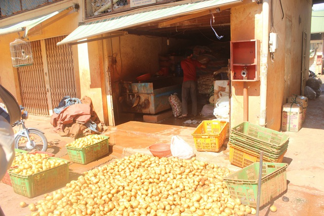Tiểu thương đang tẩy rửa khoai tây Trung Quốc trong chợ nông sản Đà Lạt