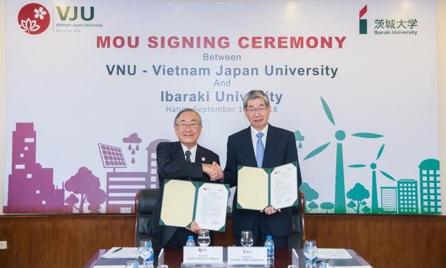 Tại Lễ khai giảng năm học 2018-2019, Trường Đại học Việt Nhật, ĐHQGHN đã ký kết thỏa thuận hợp tác với Đại học Ibaraki (Nhật Bản) để đẩy mạnh hoạt động giảng dạy, nghiên cứu và hỗ trợ các hoạt động thực tập, khởi nghiệp về biến đổi khí hậu và phát triển giữa Việt Nam và Nhật Bản.