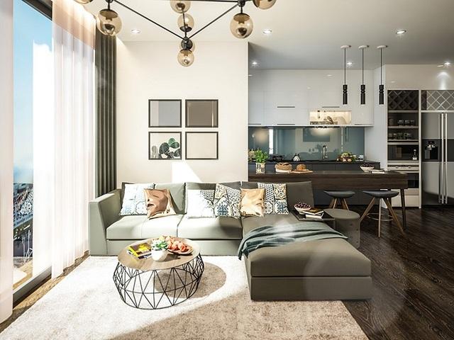 Phòng khách căn hộ được thiết kế cửa kính tấm lớn giúp cho căn hộ trở nên thoáng đãng.