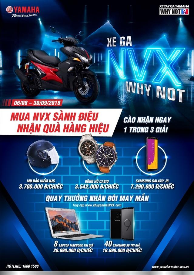 Chương trình khuyến mãi NVX vui lòng xem tại: https://khuyenmainvx.com/ hoặc xem thêm trên Fanpage Yamaha Motor Vietnam.
