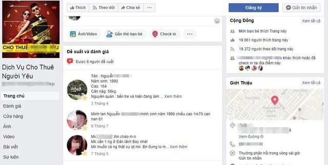 Một fanpage cho thuê người yêu hoạt động khá sôi nổi trên facebook. Ảnh chụp màn hình