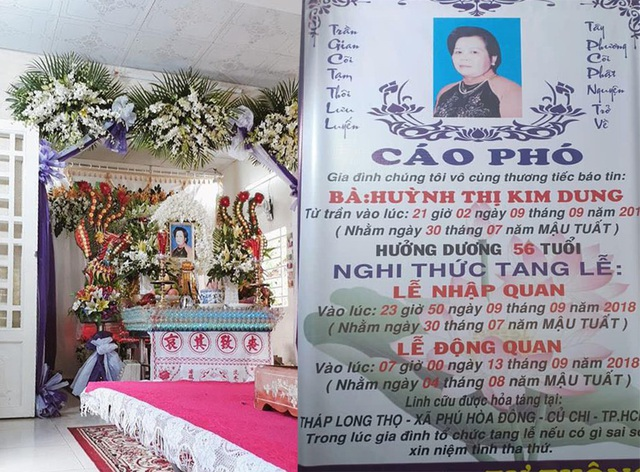 Tang lễ của bà Huỳnh Thị Kim Dung được tổ chức tại nhà riêng ở Củ Chi, TPHCM. Thông tin bà Tư bán của Thách thức danh hài đột ngột qua đời khiến nhiều người bất ngờ.