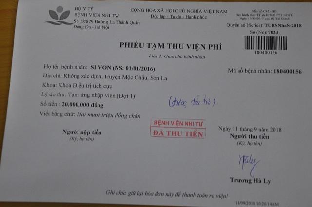 Số tiền được đóng tạm ứng vào viện phí để chữa trị cho bé Si Von.