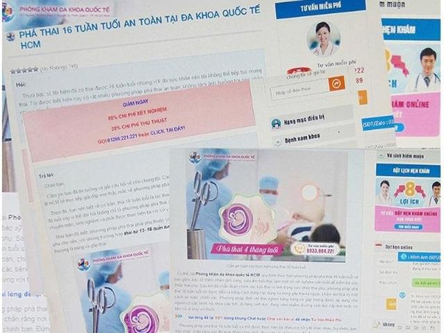 Nhan nhản các trang thông tin điện tử quảng cáo phá thai trên 10 tuần tuổi trên mạng. Ảnh: TRẦN NGỌC