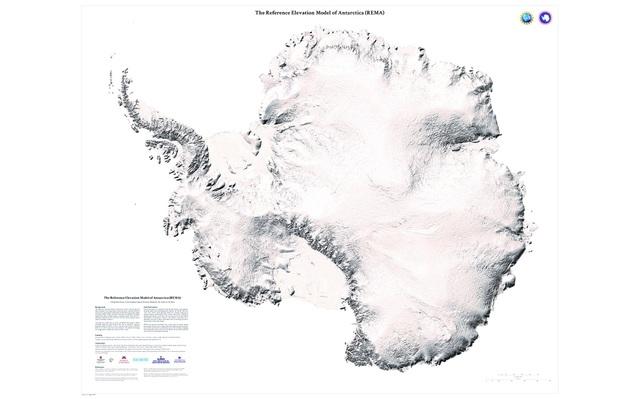 REMA - Mô hình cao độ tham chiếu Nam Cực. Ảnh: Cơ quan Tình báo Không gian Địa lý Quốc gia Mỹ