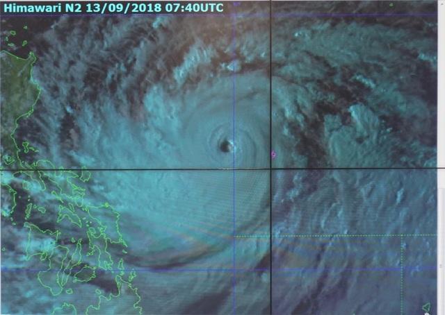 Mắt của siêu bão Mangkhut.