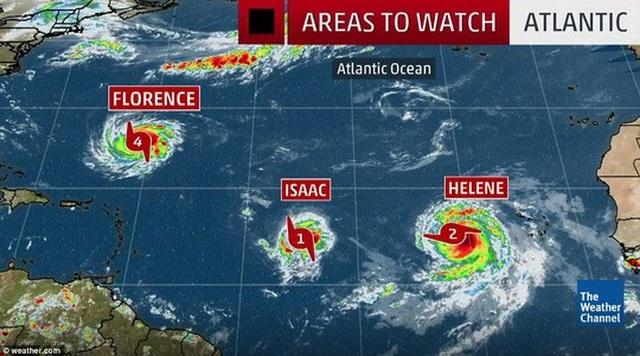 Bão Florence, Isaac, và Helene đang tiến về châu Mỹ. Theo các chuyên gia, bão Florence nhiều khả năng sẽ đổ bộ vào đất liền. Ảnh: Weather.com