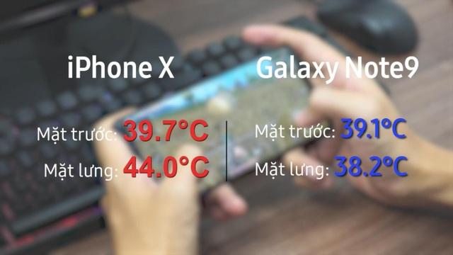So nhiệt độ khi trải nghiệm Galaxy Note9 và iPhone X - 2
