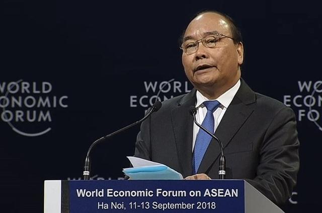 Thủ tướng Nguyễn Xuân Phúc tại Hội nghị Diễn đàn kinh tế thế giới về ASEAN (ảnh: weforum.org)