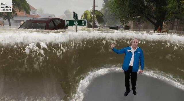 Công nghệ hiện đại giúp người xem dễ dàng hình dung về mức độ khủng khiếp của bão Florence (Ảnh: Verge)