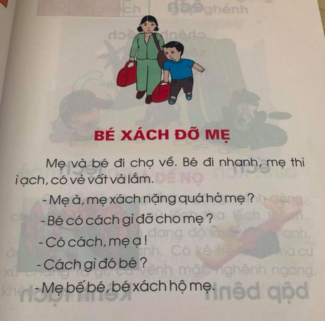 Bài đọc Bé xách đỡ mẹ trong sách Tiếng Việt - Công nghệ giáo dục của GS. Hồ Ngọc Đại đang gây tranh cãi về tính giáo dục.
