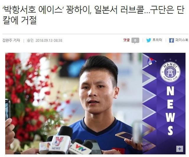 Báo Hàn Quốc quan tâm tới Quang Hải