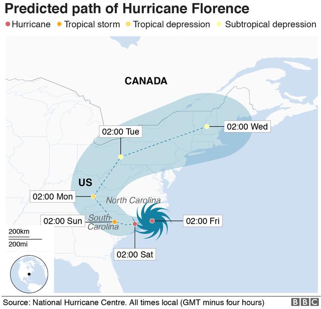 Đồ họa mô phỏng đường đi của siêu bão Florence. Vào sáng sớm ngày 14/9 giờ địa phương, cơn bão này đã bắt đầu đổ bộ vào các khu vực ven biển ở bang Bắc Carolina và Nam Carolina.